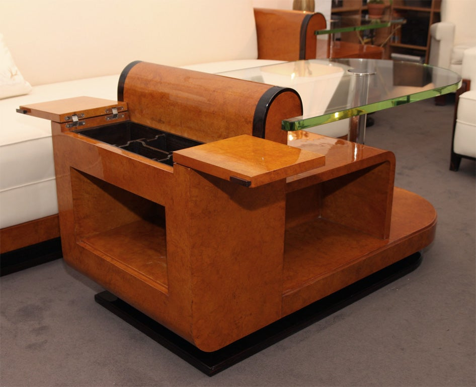 Large art deco coffee table by jules cayette at 1stdibs for Art deco coffee table