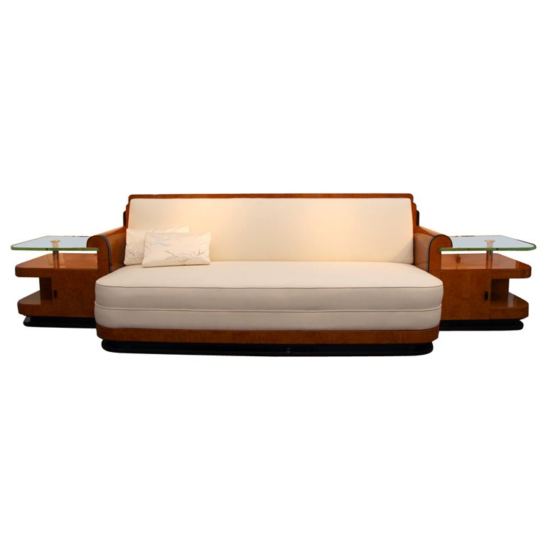 Art deco sofa with built in side tables by jules cayette - Como tapizar sofas ...