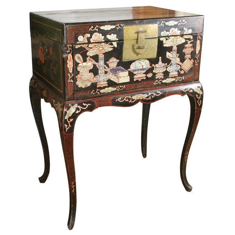An antique chinese style lacquer cabinet desk at 1stdibs for Asian style desk