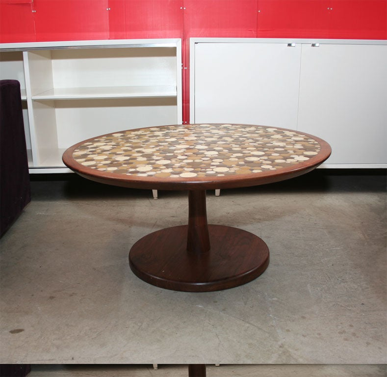 Martz Walnut Coffee Table With Inset Ceramic Tile Design At 1stdibs