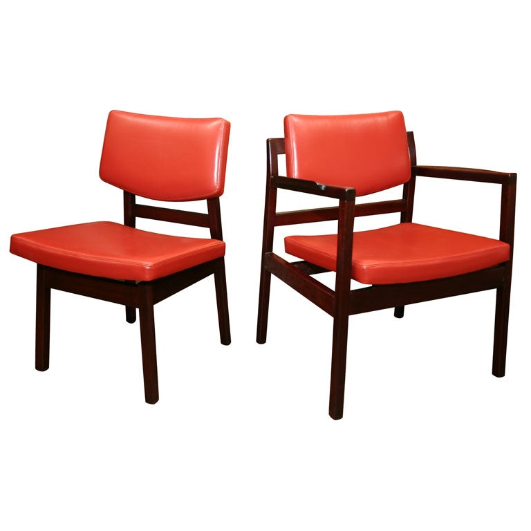 Set of 6 jens risom dining chairs w spinneybeck leather cushions at 1stdibs - Jens risom dining chairs ...