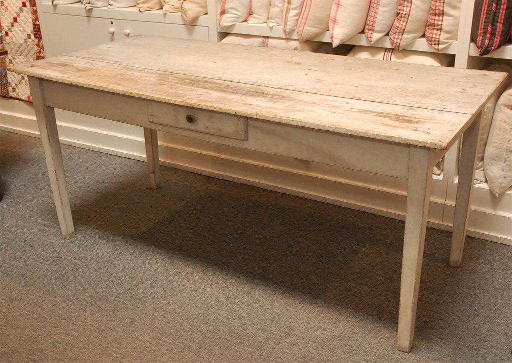 LATE 19THC ORIGINAL WHITE PAINTED  FARM TABLE FROM PENNSYLVANIA 2