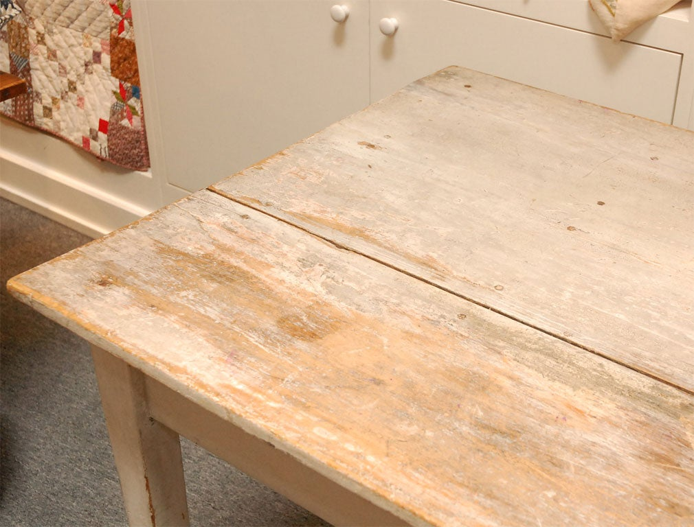 LATE 19THC ORIGINAL WHITE PAINTED  FARM TABLE FROM PENNSYLVANIA 6