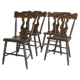 19THC SET OF FOUR ORIGINAL PAINTED BROWN CHAIRS WITH FRUIT DECOR