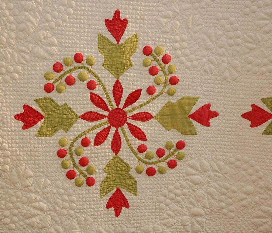 Cotton 19TH CENTURY TRAPUNTO & APPLIQUE QUILT