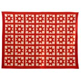 Early 20th Century Red and White Star Quilt