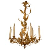Turn of the Century French Art Nouveau Six Light Chandelier