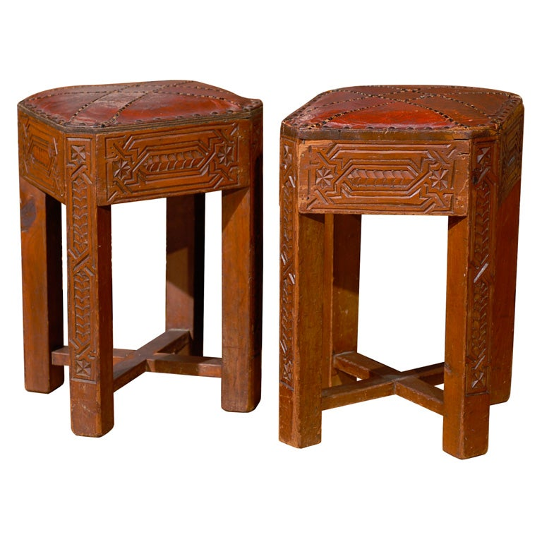 Carved Bench Stool With Red Leather Top At 1stdibs