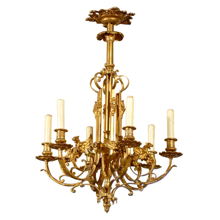 Gilt bronze chandelier featuring dragons at 1stdibs