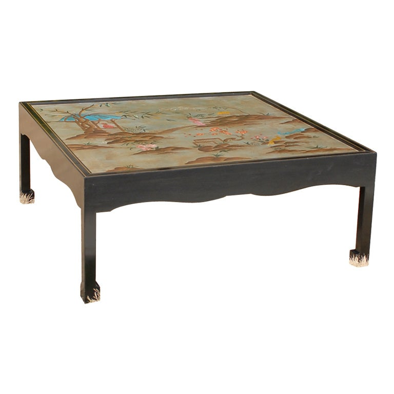 Mid C Chinoiserie Mirrored Coffee Table At 1stdibs