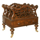Victorian Period Carved Burl and Figured Walnut Canterbury, circa 1870