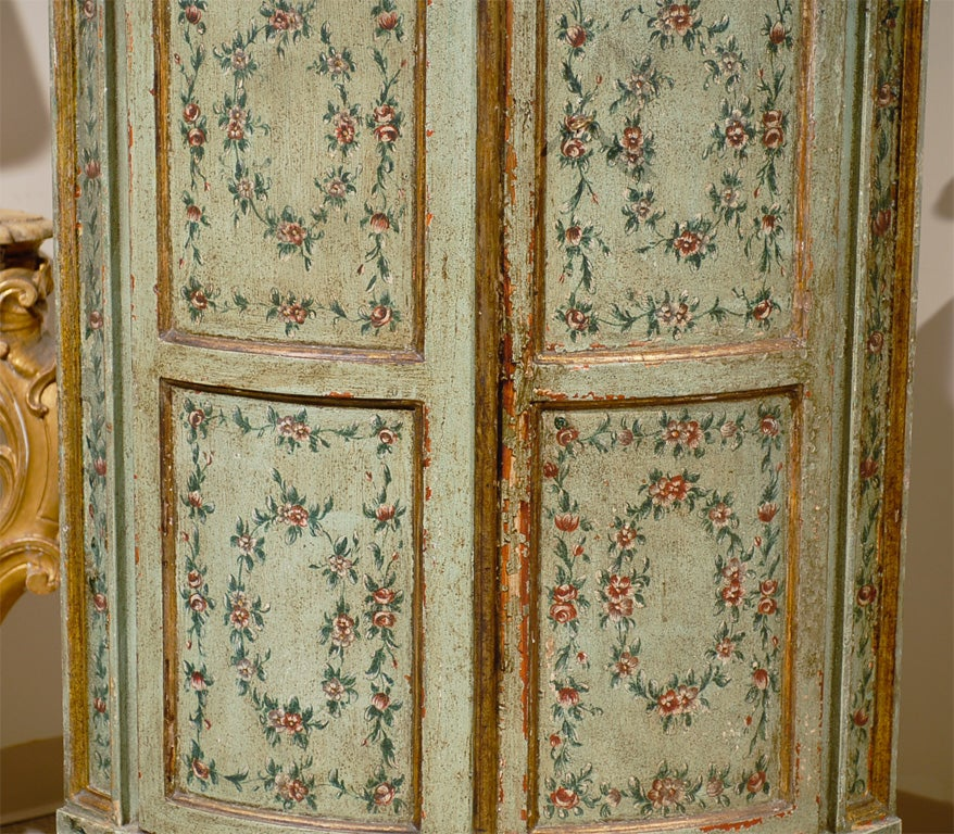 18th century Venetian Painted Corner Cabinet with bonnet top image 5