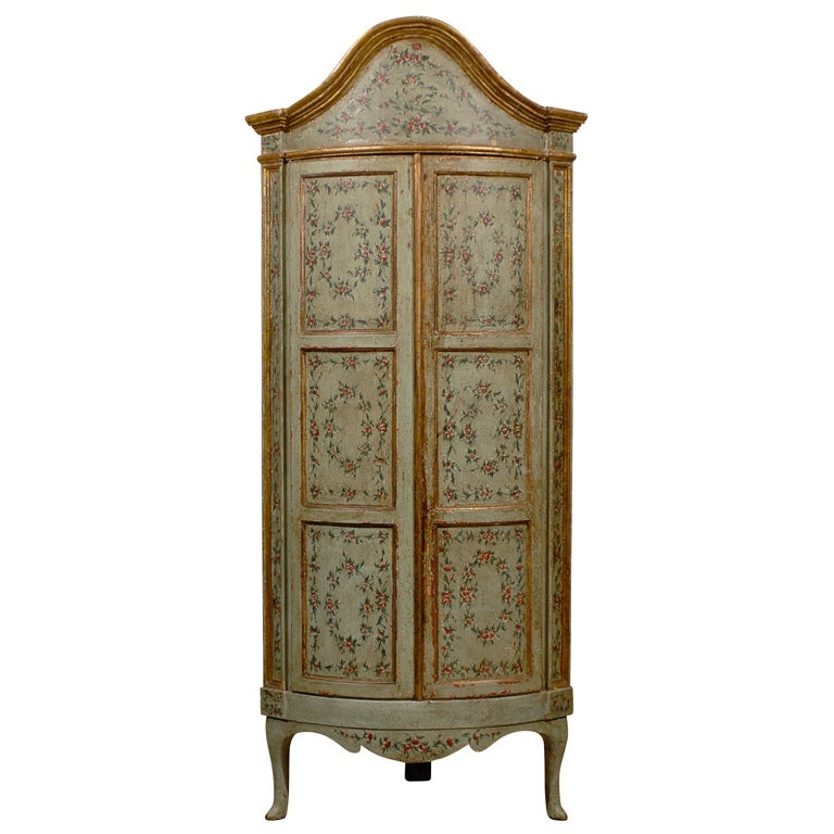 18th century Venetian Painted Corner Cabinet with bonnet top