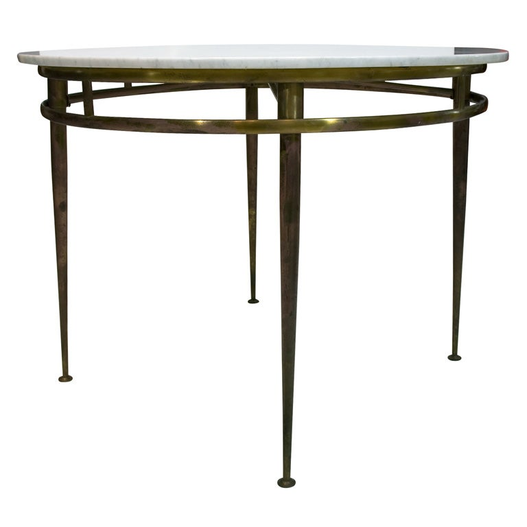 Italian brass entry table with carrera marble top at 1stdibs for Table carrera