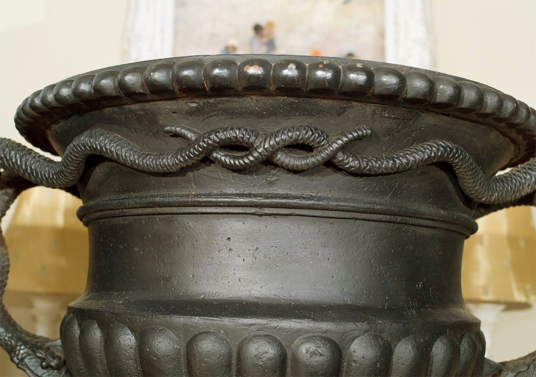 Pair of Cast Iron Urns with Entwined Serpent Handles In Excellent Condition For Sale In Woodbury, CT