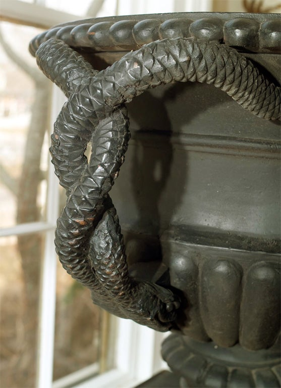 19th Century Pair of Cast Iron Urns with Entwined Serpent Handles For Sale