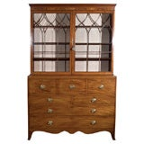 Mahogany Butler's Secretary with Satinwood Inlays and Outfitted Desk Interior