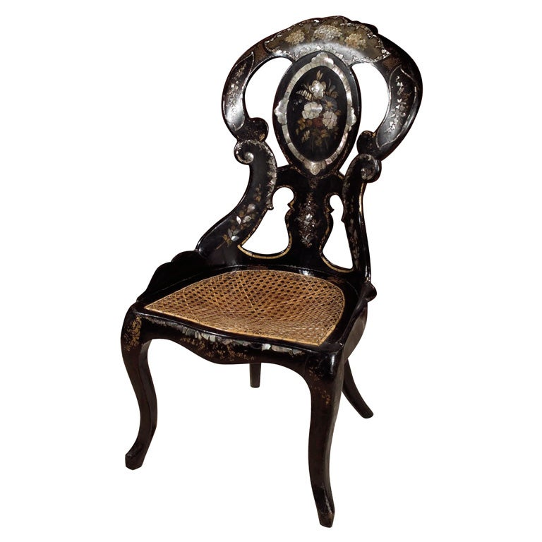 black lacquer side chair for sale at 1stdibs. Black Bedroom Furniture Sets. Home Design Ideas