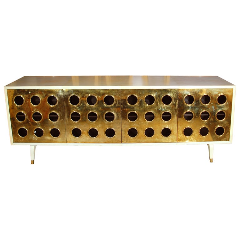 Parchment and Brass Credenza