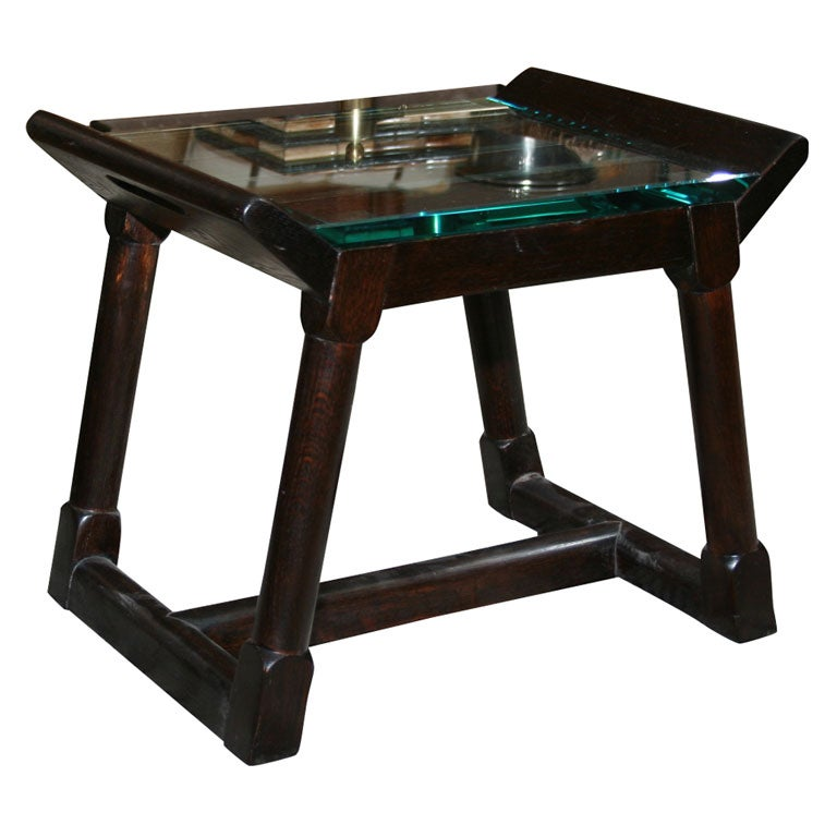 Oak Glass Top Side Table At 1stdibs