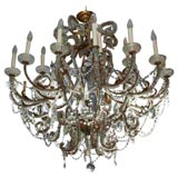 Large Gilt Metal Chandelier with Beaded Crystals