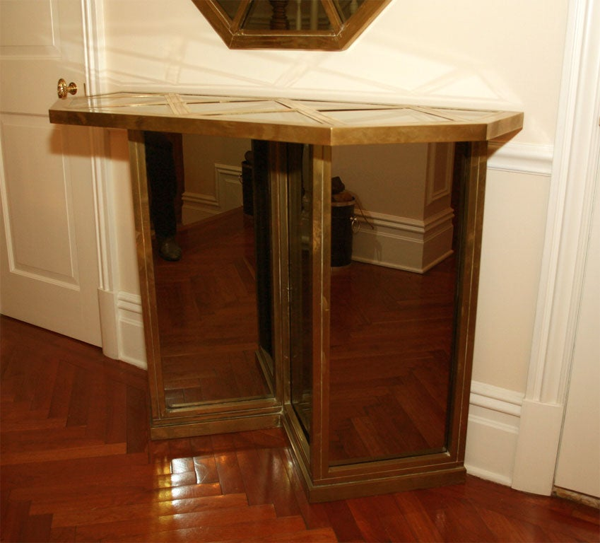 Brass And Smoked Mirrored Console And Mirror Set At 1stdibs