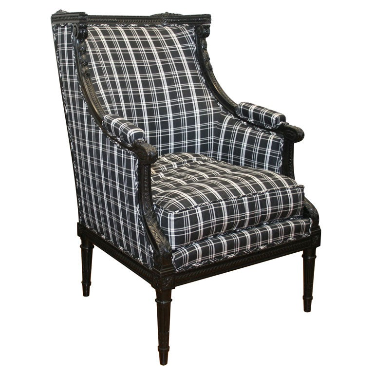 jansen black lacquered bergere 39 a oreilles 39 at 1stdibs. Black Bedroom Furniture Sets. Home Design Ideas