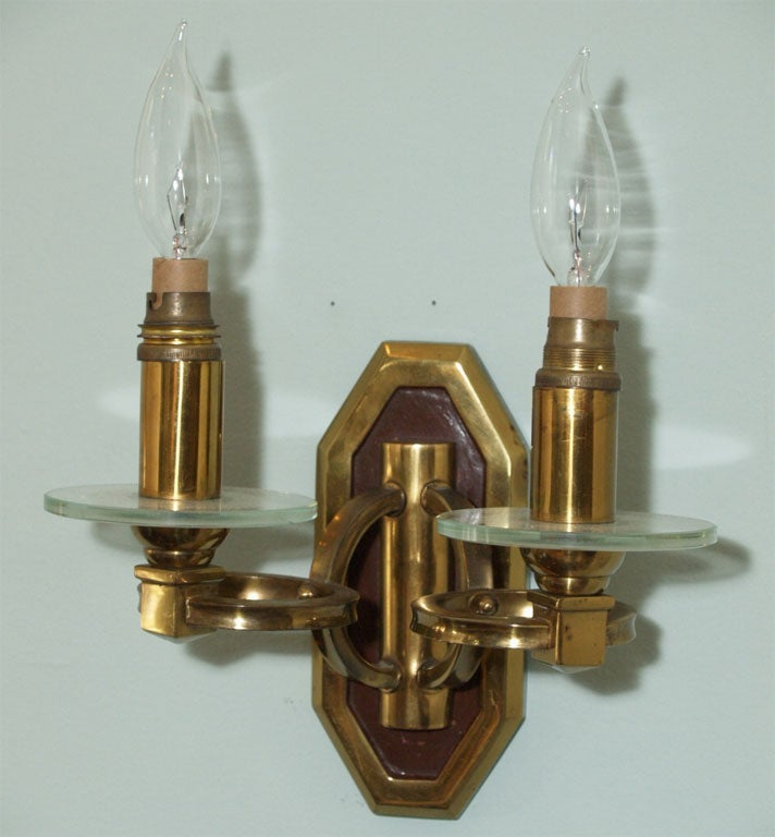 Pair of Sconces in Brass and Bronze 2