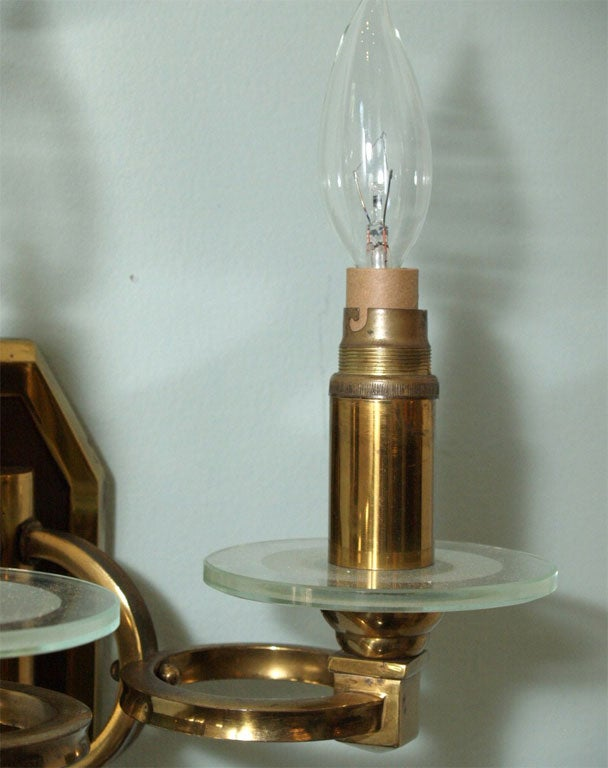 Pair of Sconces in Brass and Bronze 3