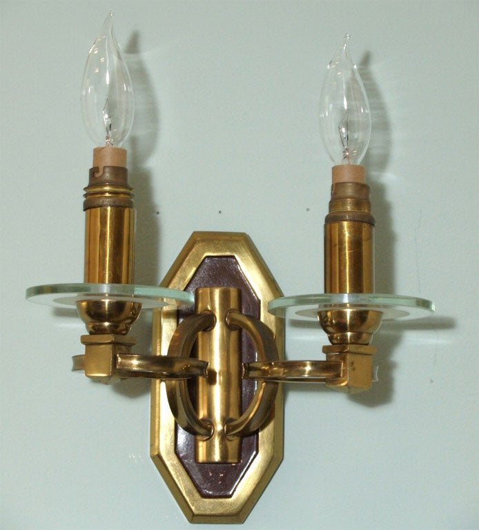 Pair of Sconces in Brass and Bronze 7