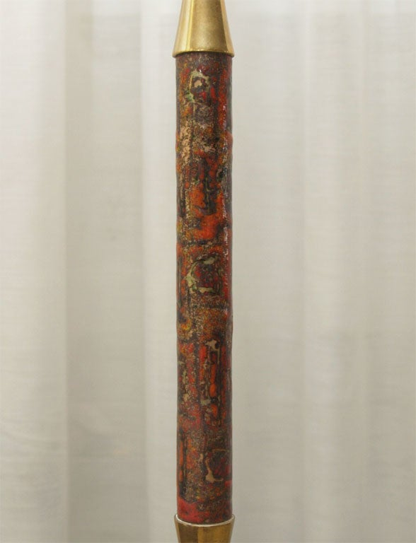 Pair of Table Lamps in Rust, Red and Mustard Enamel/No Shades 6