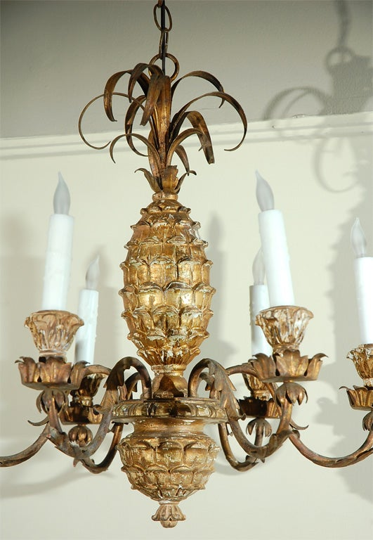 Vintage Pineapple Chandelier, c. 1940s 2