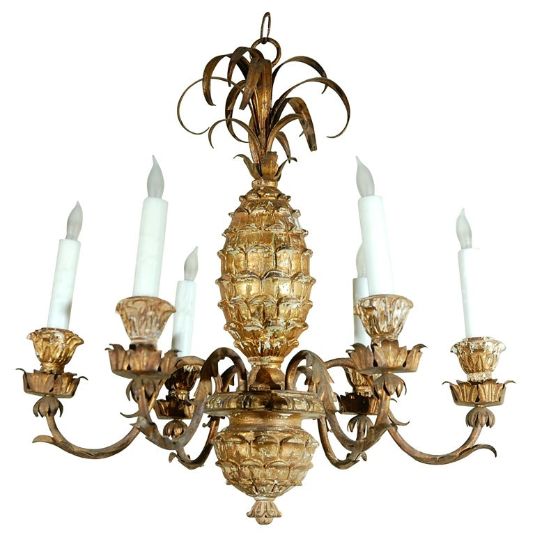 Vintage Pineapple Chandelier, c. 1940s 1