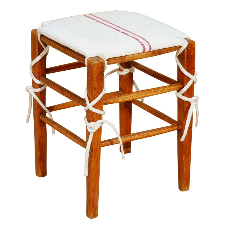 French Wooden Stool With Padded Seat At 1stdibs