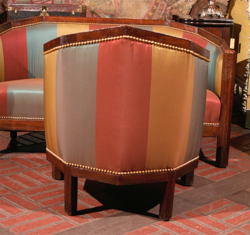 french beechwood art deco settee and pair of armchairs