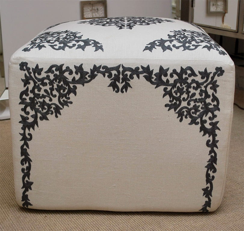 Ottoman with French Embroidery on Linen 2