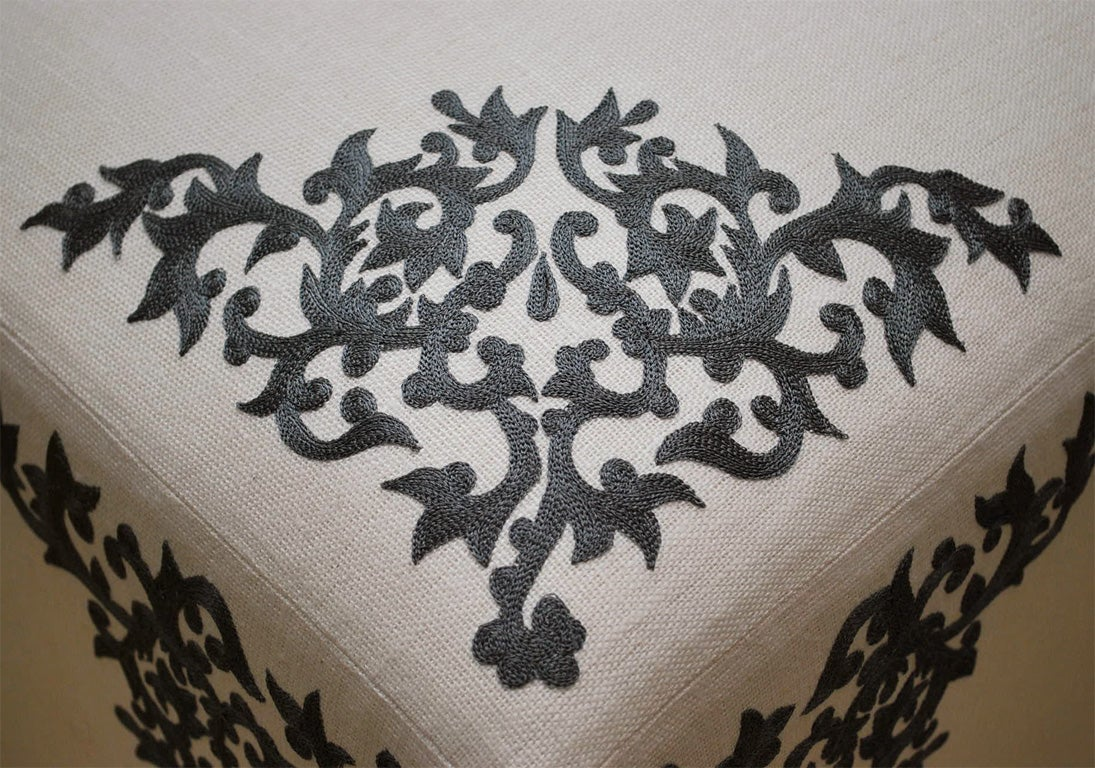 Ottoman with French Embroidery on Linen 4