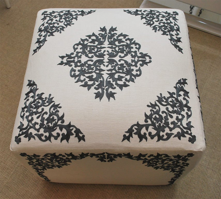 Ottoman with French Embroidery on Linen 5