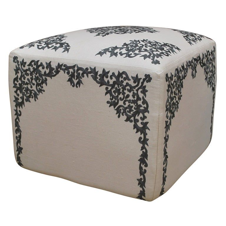 Ottoman with French Embroidery on Linen