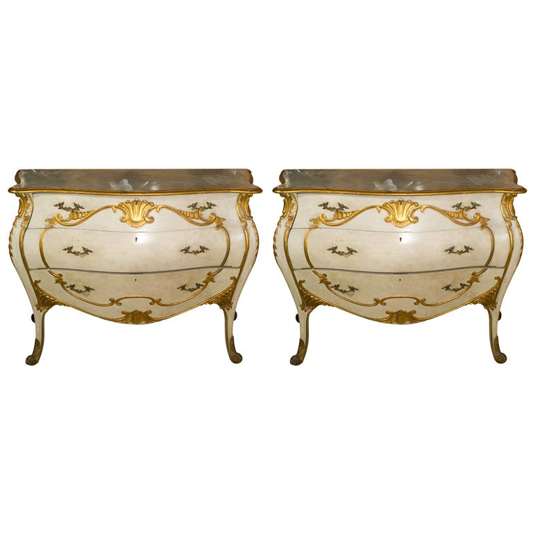 Pair of Painted Bombe Italian Niccolini Marble-Top Chests