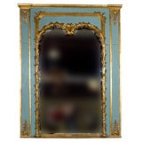 Stamped Jansen Gilt Wood Paint Decorated Trumeau Mirror