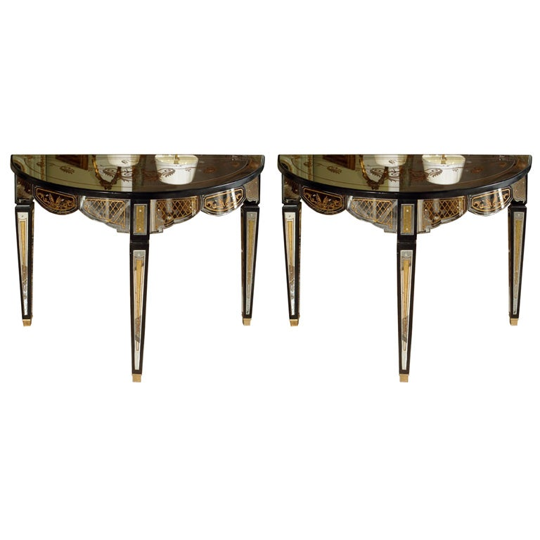 Pair of Gilt Decorated Églomisé Mirrored Demilune Console Tables