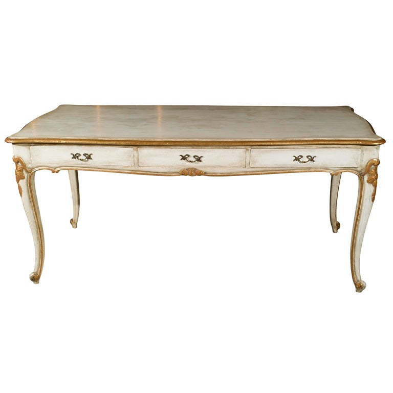 Stamped Jansen French Distressed Painted Gilt Partners Desk For
