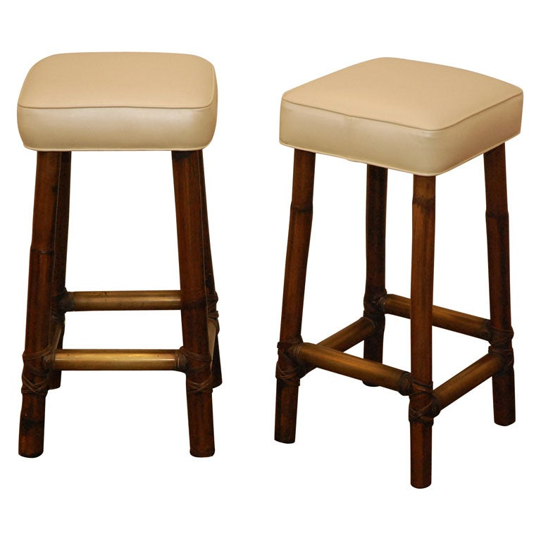 Vintage Mcguire Bar Stools At 1stdibs