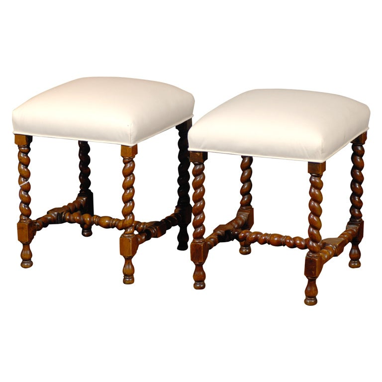 Pair Of Twist Leg Stools At 1stdibs