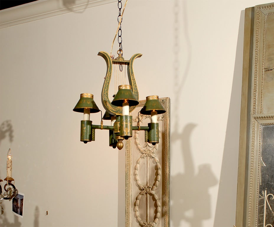 19th Century French Tole Wood Painted Chandelier, Louis XVI at 1stdibs
