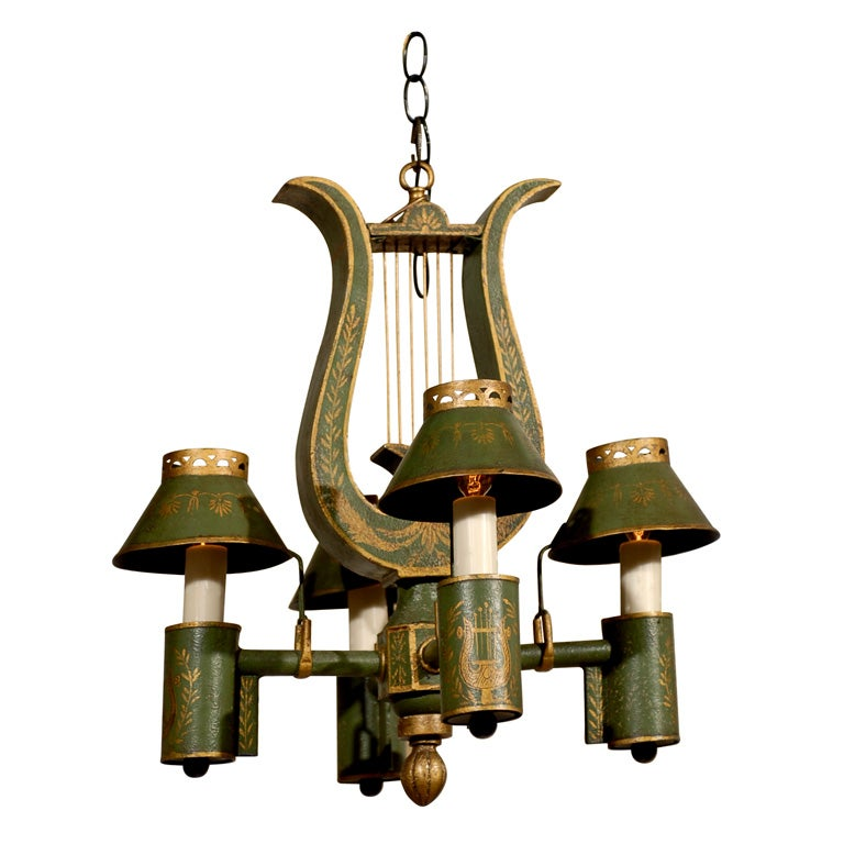 19th Century French Tole Wood Painted Chandelier, Louis XVI