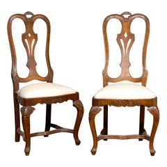 Set of Six Rococo Style 19th Century Dining Room Chairs with Tall Pierced Backs