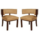 Pair of Art Deco Curved Back Sidechairs