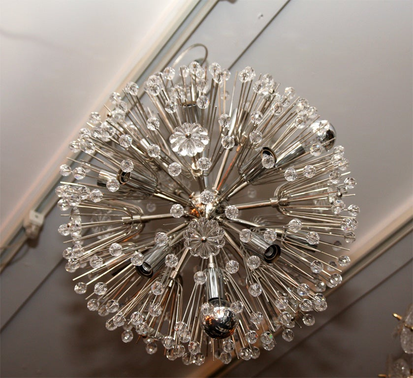 Nickel Plated Austrian Snowflake Chandelier In Excellent Condition For Sale In New York, NY